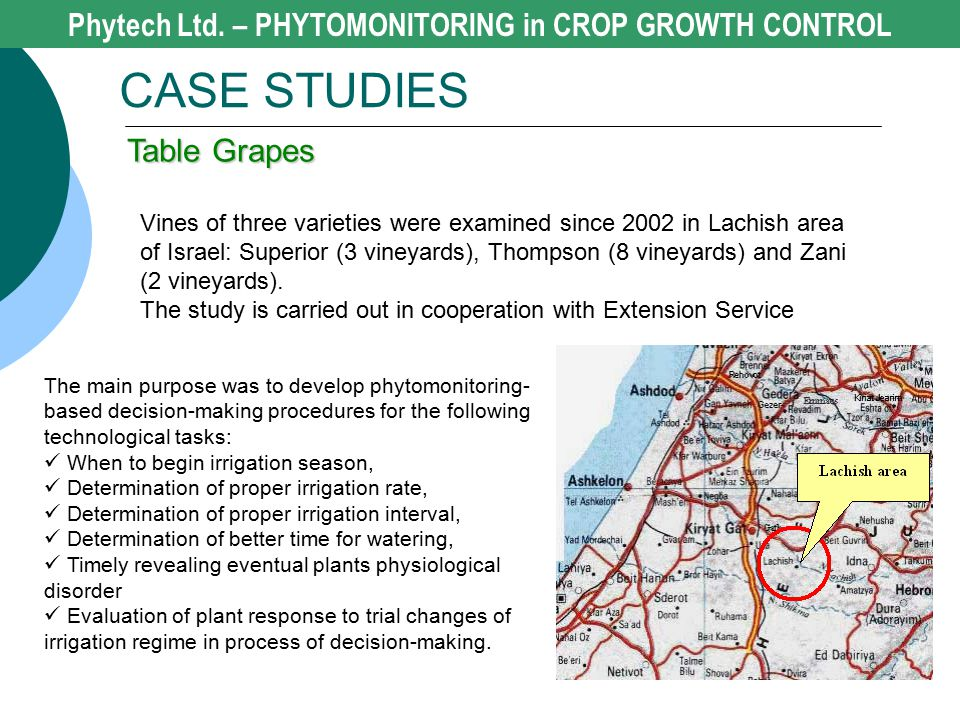Phytech Ltd. – PHYTOMONITORING in CROP GROWTH CONTROL CASE STUDIES Table Grapes Vines of three varieties were examined since 2002 in Lachish area of I