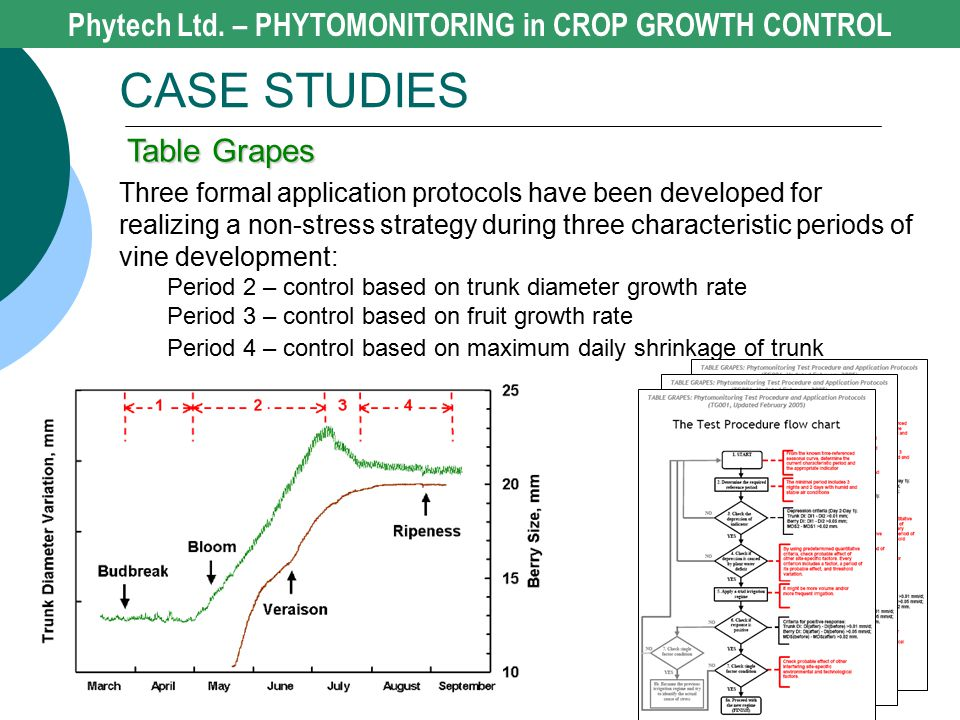 Phytech Ltd. – PHYTOMONITORING in CROP GROWTH CONTROL CASE STUDIES Table Grapes Three formal application protocols have been developed for realizing a
