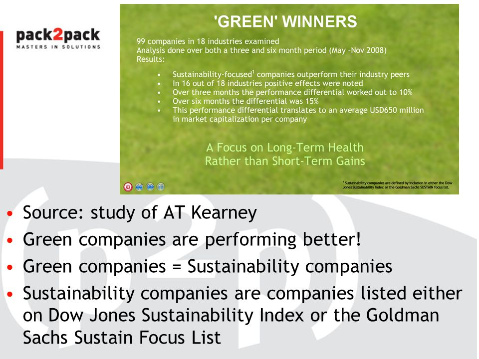 Source: study of AT Kearney Green companies are performing better! Green companies = Sustainability companies Sustainability companies are companies l
