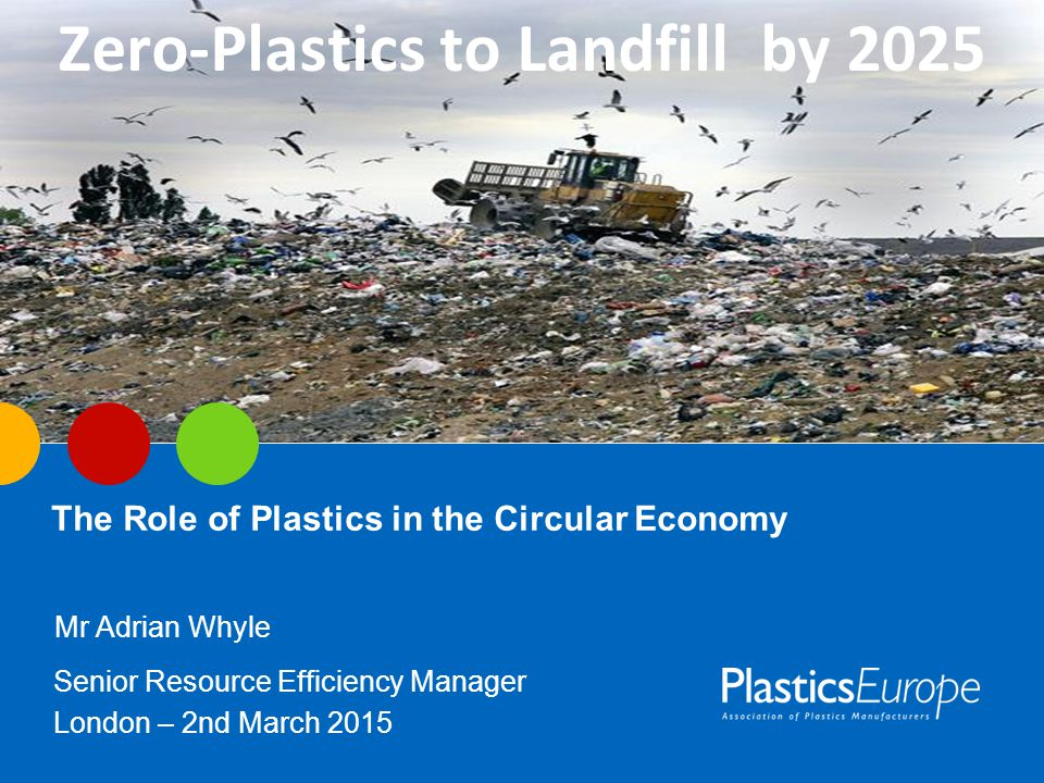 The Role of Plastics in the Circular Economy Mr Adrian Whyle Senior Resource Efficiency Manager London – 2nd March 2015 Zero-Plastics to Landfill by 2025