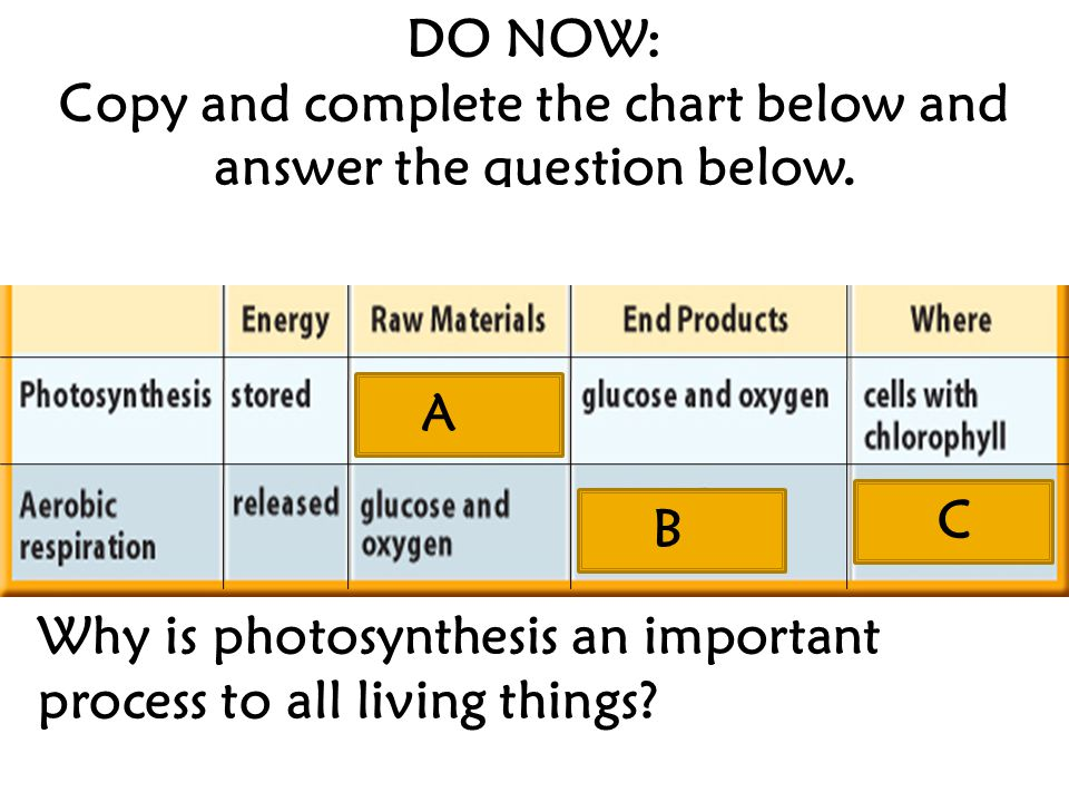 A C B DO NOW: Copy and complete the chart below and answer the question below.
