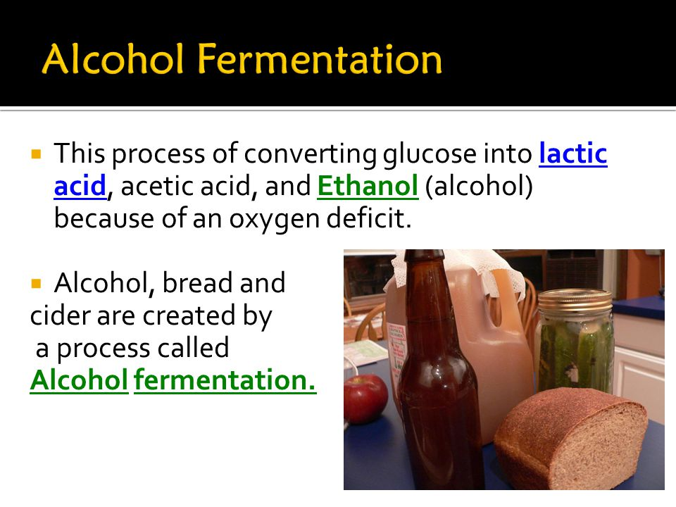  This process of converting glucose into lactic acid, acetic acid, and Ethanol (alcohol) because of an oxygen deficit.