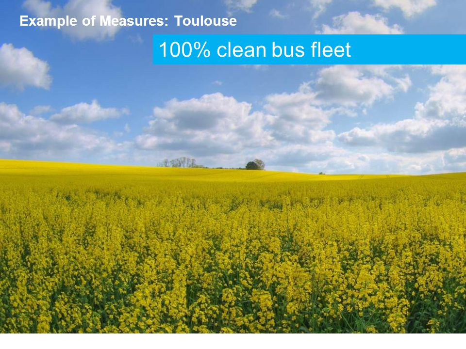 100% clean bus fleet Example of Measures: Toulouse