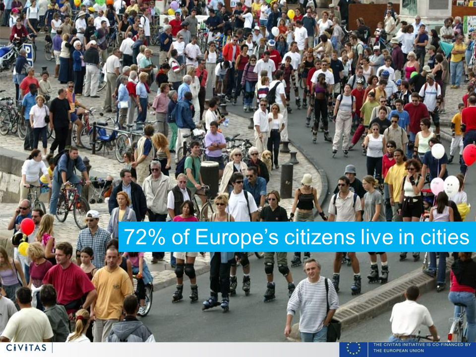3 72% of Europe's citizens live in cities