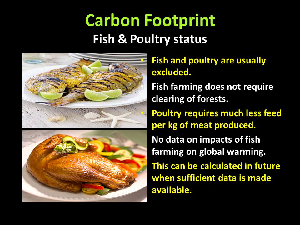 Carbon Footprint Fish & Poultry status Fish and poultry are usually excluded. Fish farming does not require clearing of forests. Poultry requires much