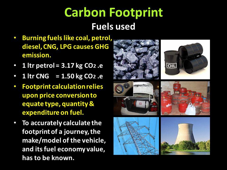Carbon Footprint Fuels used Burning fuels like coal, petrol, diesel, CNG, LPG causes GHG emission. 1 ltr petrol = 3.17 kg CO 2.e 1 ltr CNG = 1.50 kg C