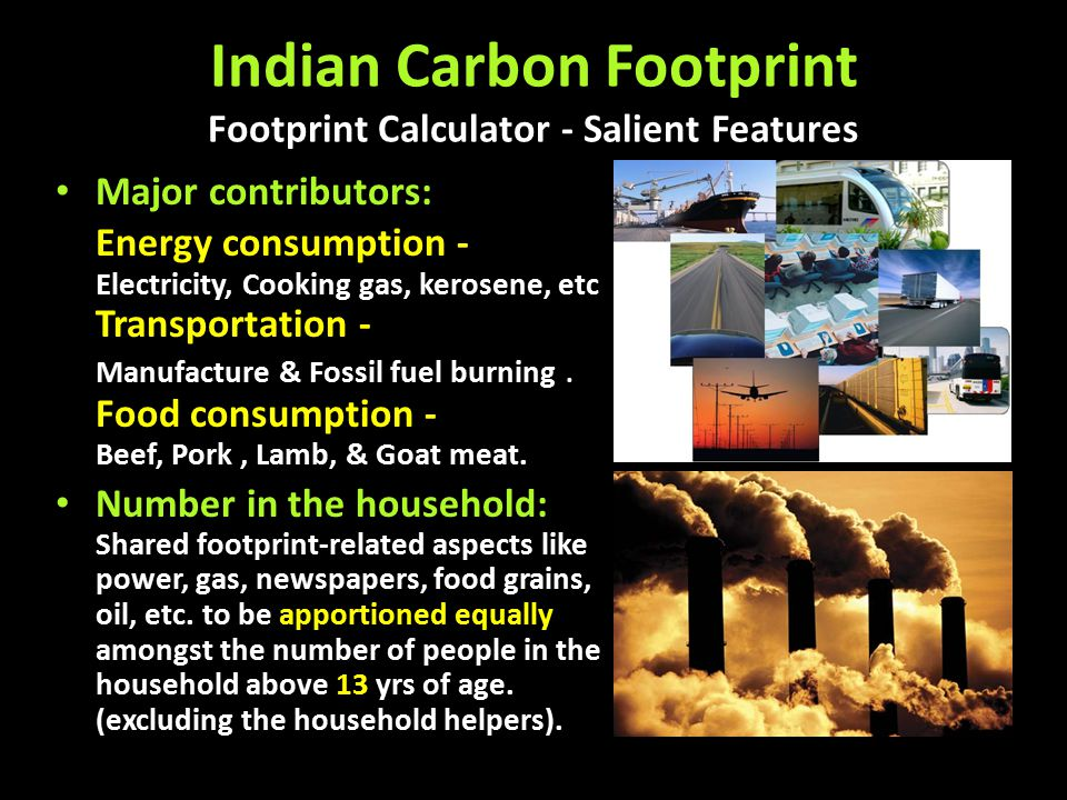 Carbon Footprint Electricity consumption 80% power generation is on fossil fuels.