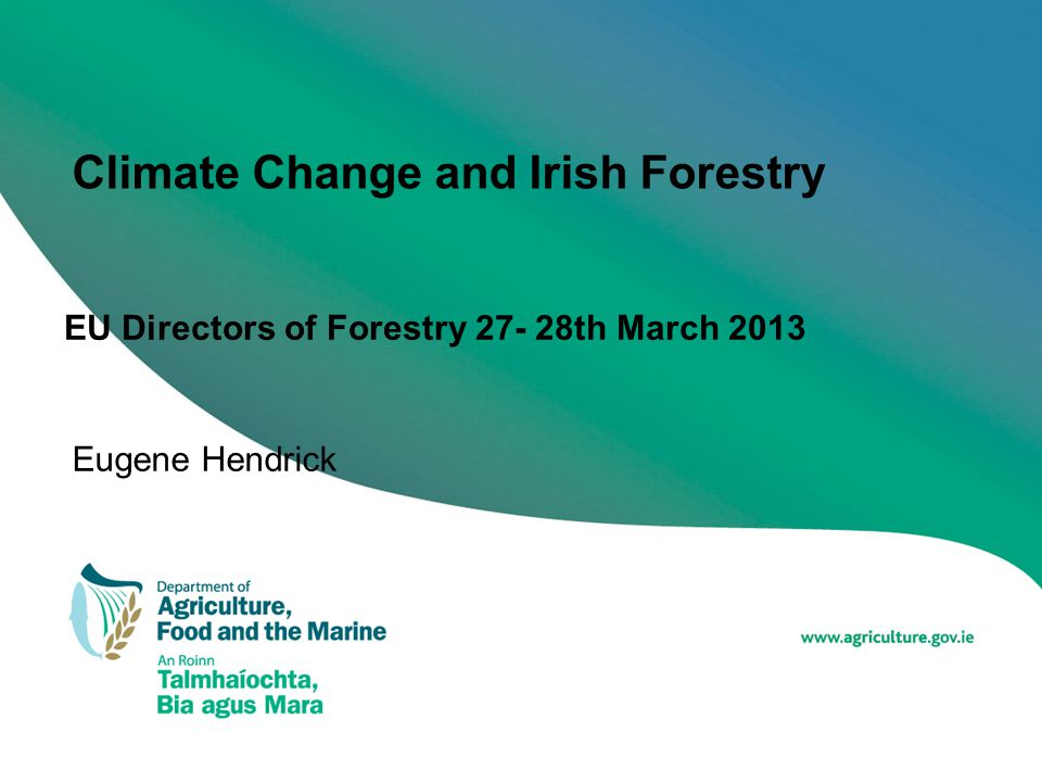 Climate Change and Irish Forestry EU Directors of Forestry 27- 28th March 2013 Eugene Hendrick