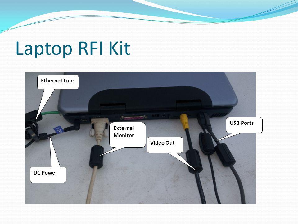 Laptop RFI Kit USB Ports Ethernet Line DC Power Video Out External Monitor