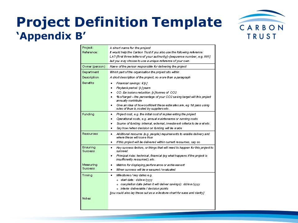 Project Definition Template 'Appendix B'