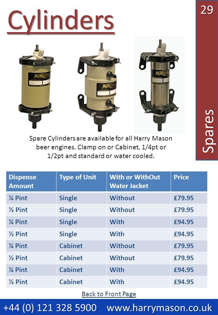 29Spares Cylinders +44 (0) 121 328 5900 www.harrymason.co.uk +44 (0) 121 328 5900 www.harrymason.co.uk Dispense Amount Type of UnitWith or WithOut Water Jacket Price ¼ PintSingleWithout£79.95 ½ PintSingleWithout£79.95 ¼ PintSingleWith£94.95 ½ PintSingleWith£94.95 ¼ PintCabinetWithout£79.95 ½ PintCabinetWithout£79.95 ¼ PintCabinetWith£94.95 ½ PintCabinetWith£94.95 Spare Cylinders are available for all Harry Mason beer engines.