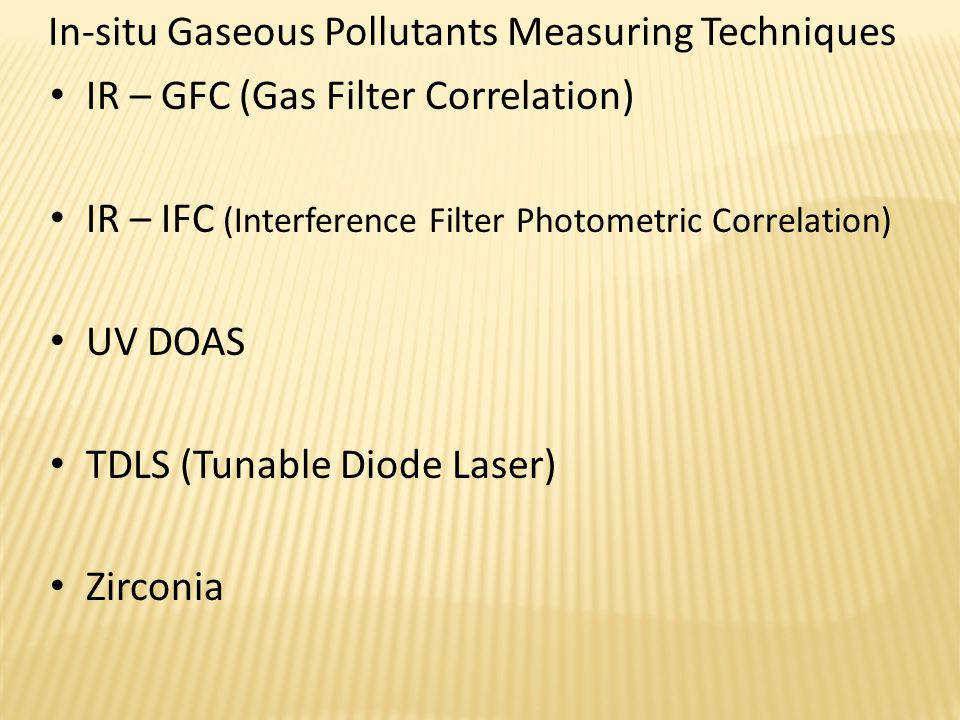 Optical Components An example for In-situ Multiple gas analyzer DOAS Differential Optical Absorption Spectroskopy