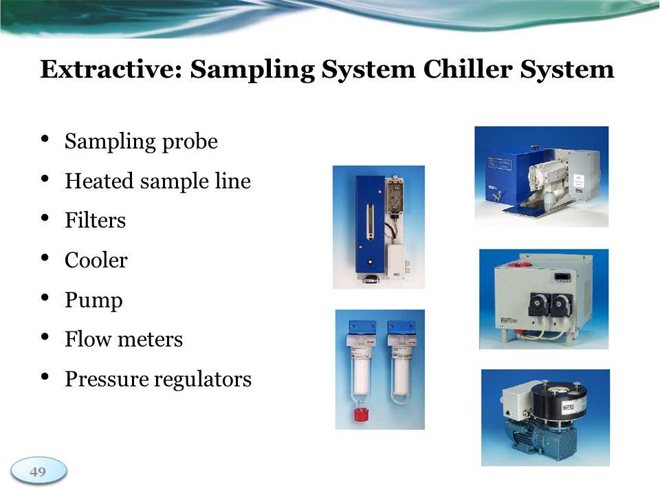 49 Extractive: Sampling System Chiller System Sampling probe Heated sample line Filters Cooler Pump Flow meters Pressure regulators 49