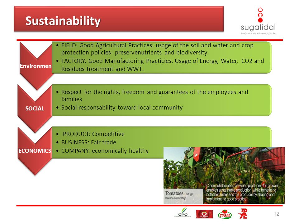 12 Sustainability Sustainability Environment FIELD: Good Agricultural Practices: usage of the soil and water and crop protection policies- preservenutrients and biodiversity.