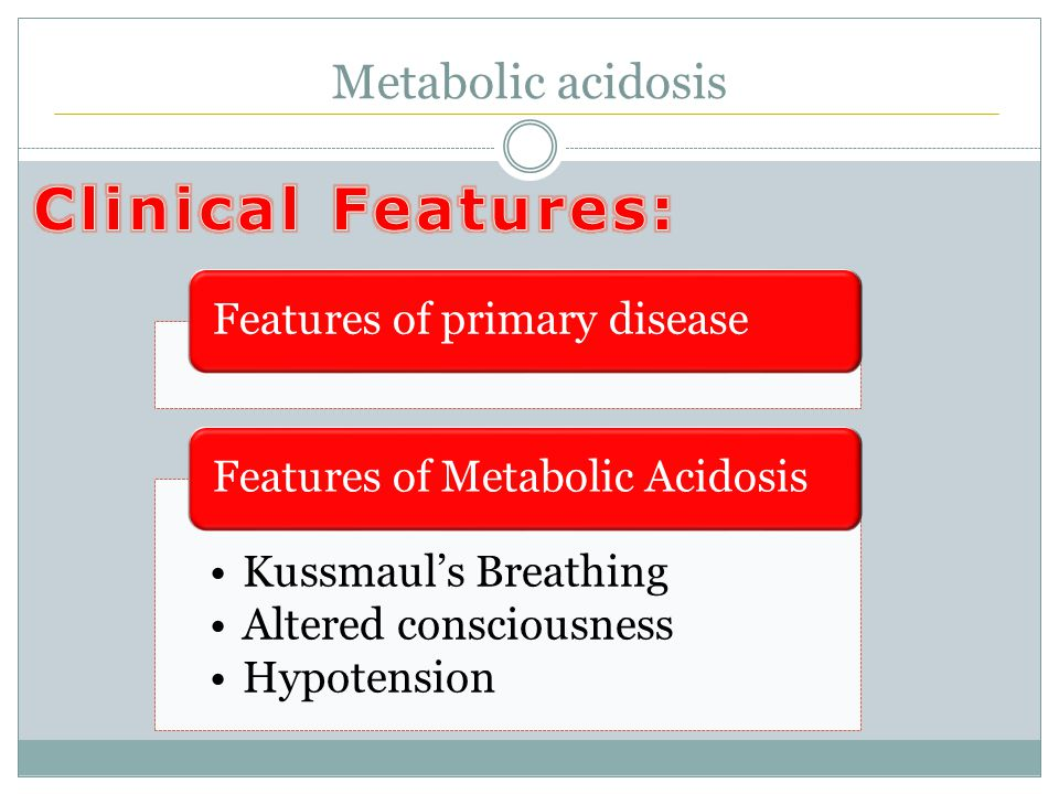 Metabolic acidosis Features of primary disease Kussmaul's Breathing Altered consciousness Hypotension Features of Metabolic Acidosis