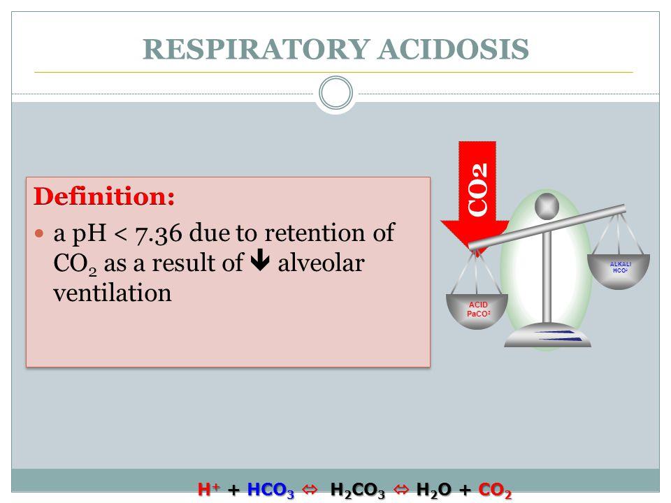 CO2 RESPIRATORY ACIDOSIS ACID PaCO 2 ALKALI HCO 3 H + + HCO 3  H 2 CO 3  H 2 O + CO 2