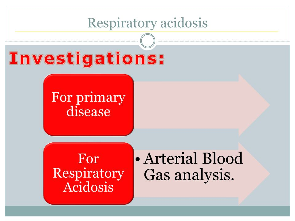 Respiratory acidosis For primary disease Arterial Blood Gas analysis. For Respiratory Acidosis