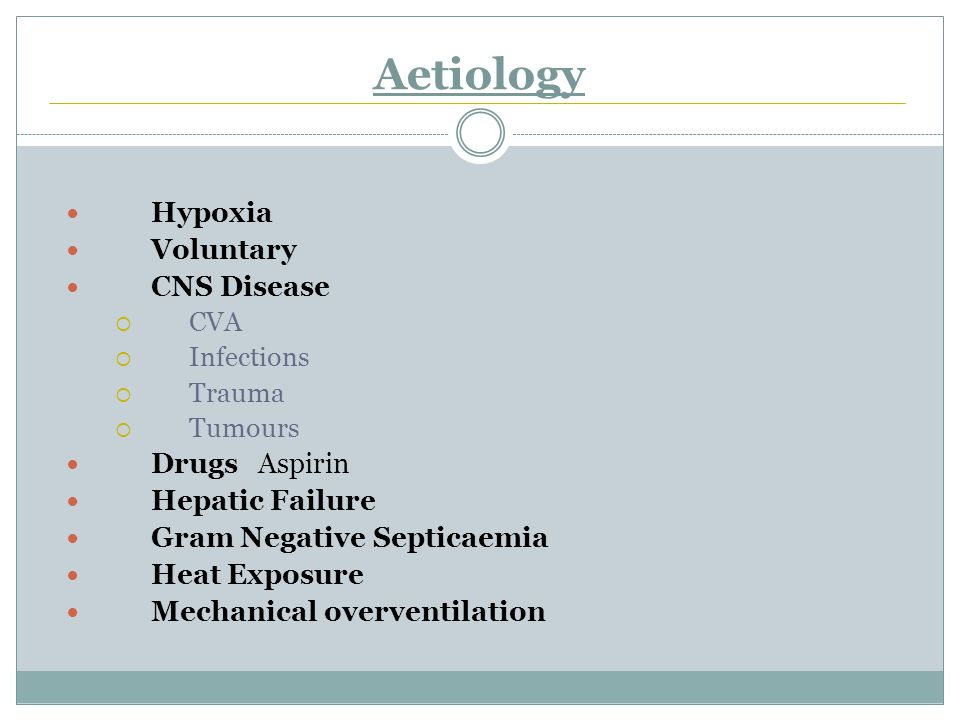 Aetiology Hypoxia Voluntary CNS Disease  CVA  Infections  Trauma  Tumours DrugsAspirin Hepatic Failure Gram Negative Septicaemia Heat Exposure Mechanical overventilation