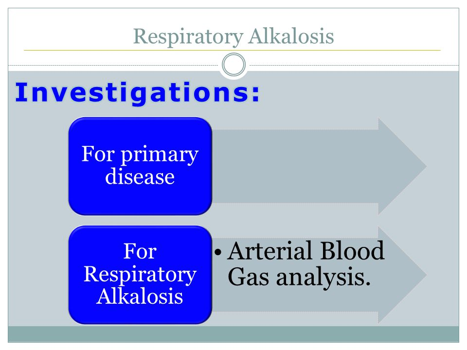 Respiratory Alkalosis For primary disease Arterial Blood Gas analysis. For Respiratory Alkalosis
