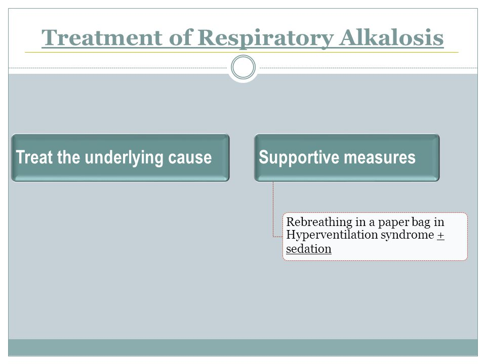 Treatment of Respiratory Alkalosis Treat the underlying causeSupportive measures Rebreathing in a paper bag in Hyperventilation syndrome + sedation