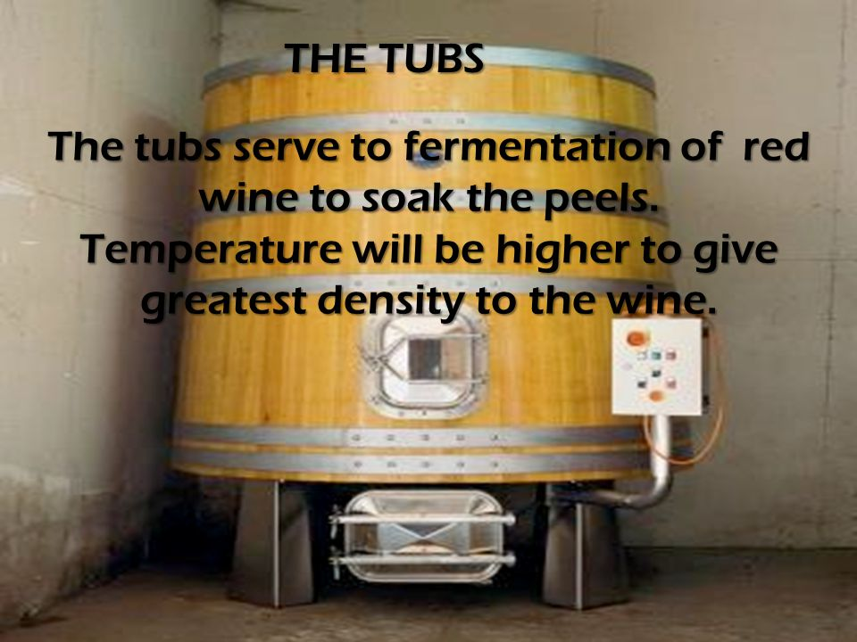 The tubs serve to fermentation of red wine to soak the peels.