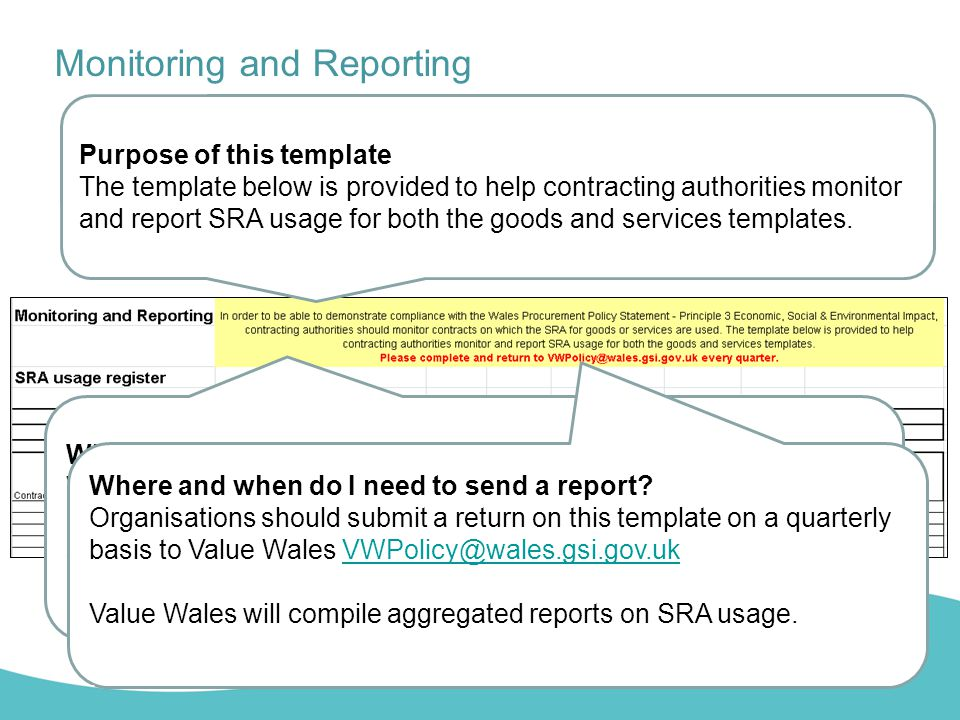 Monitoring and Reporting Purpose of this template The template below is provided to help contracting authorities monitor and report SRA usage for both