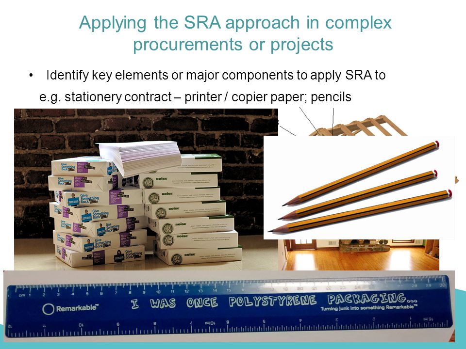 Applying the SRA approach in complex procurements or projects Identify key elements or major components to apply SRA to e.g. construction project - st
