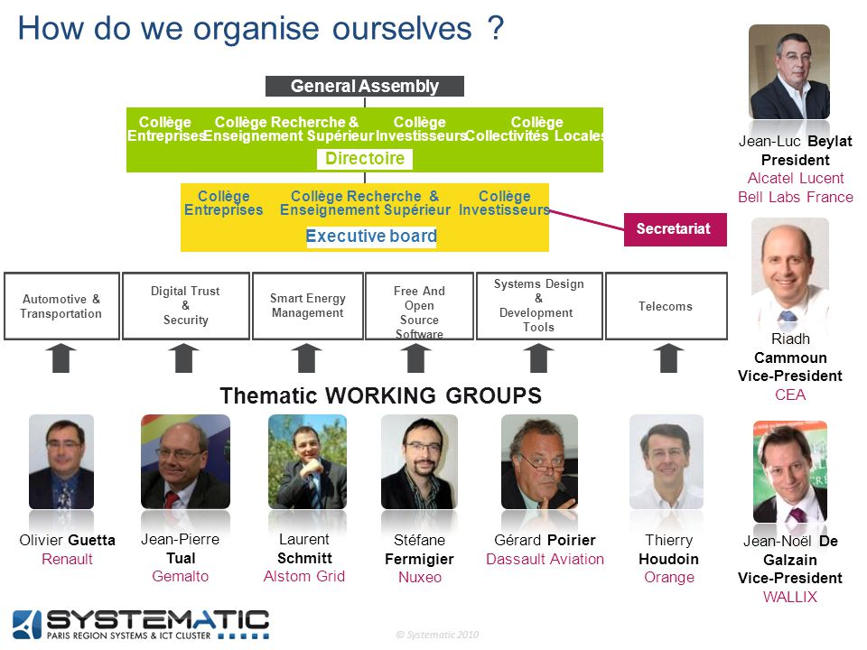 © Systematic 2010 Gérard Poirier Dassault Aviation Thierry Houdoin Orange Thematic WORKING GROUPS Secretariat Digital Trust & Security Free And Open S