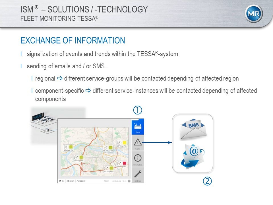 ISM ® – SOLUTIONS / -TECHNOLOGY FLEET MONITORING TESSA ® EXCHANGE OF INFORMATION I signalization of events and trends within the TESSA ® -system I sending of emails and / or SMS...