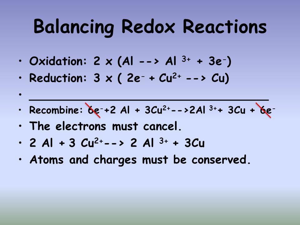 Balancing Redox Reactions Oxidation: 2 x (Al --> Al 3+ + 3e - ) Reduction: 3 x ( 2e - + Cu 2+ --> Cu) _________________________________ Recombine: 6e