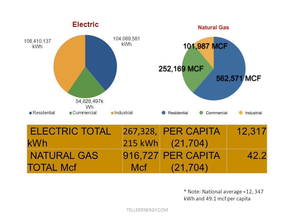 ELECTRIC TOTAL kWh 267,328, 215 kWh PER CAPITA (21,704) 12,317 NATURAL GAS TOTAL Mcf 916,727 Mcf PER CAPITA (21,704) 42.2 * Note: National average =12, 347 kWh and 49.1 mcf per capita