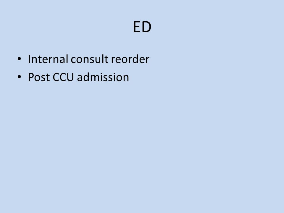 ED Internal consult reorder Post CCU admission