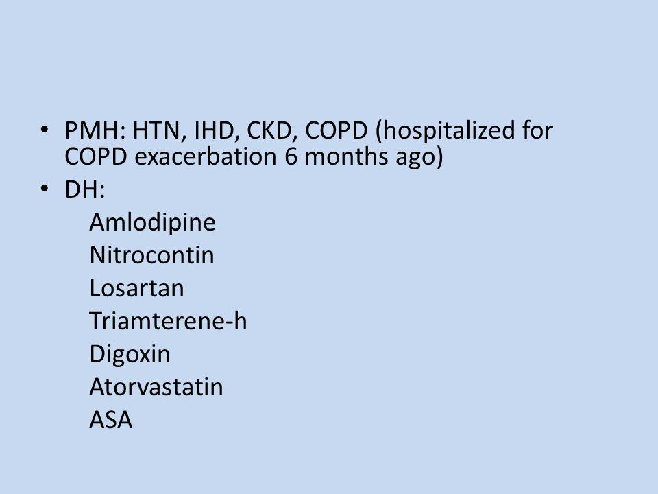 PMH: HTN, IHD, CKD, COPD (hospitalized for COPD exacerbation 6 months ago) DH: Amlodipine Nitrocontin Losartan Triamterene-h Digoxin Atorvastatin ASA
