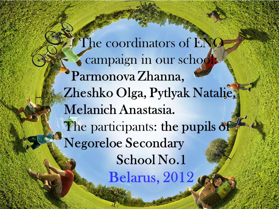 The coordinators of ENO campaign in our school: Parmonova Zhanna, Zheshko Olga, Pytlyak Natalie, Melanich Anastasia.