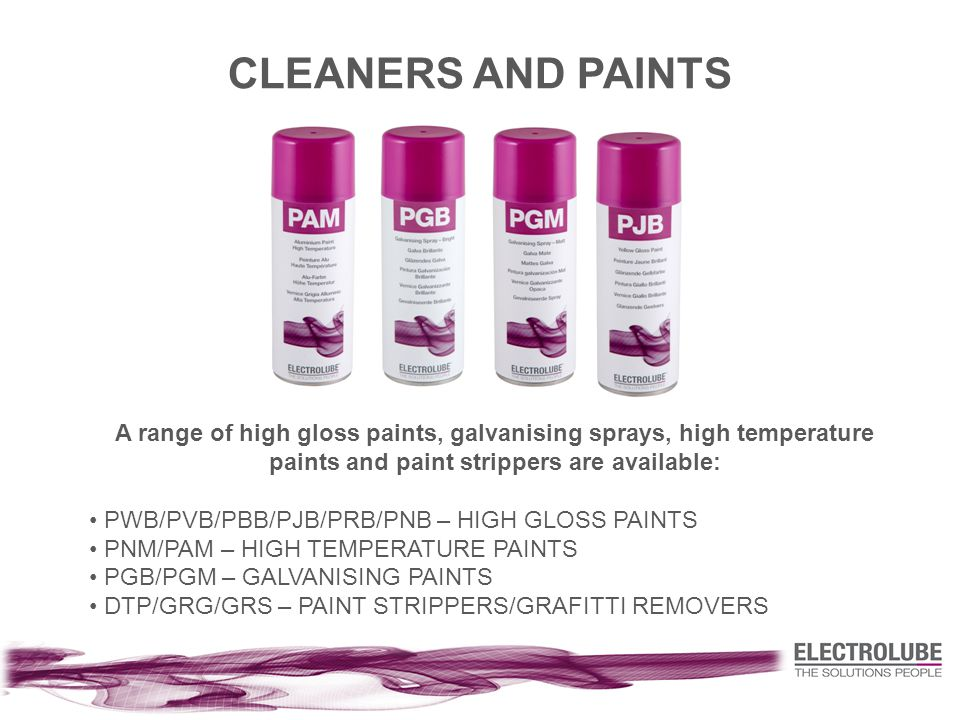 CLEANERS AND PAINTS A range of high gloss paints, galvanising sprays, high temperature paints and paint strippers are available: PWB/PVB/PBB/PJB/PRB/PNB – HIGH GLOSS PAINTS PNM/PAM – HIGH TEMPERATURE PAINTS PGB/PGM – GALVANISING PAINTS DTP/GRG/GRS – PAINT STRIPPERS/GRAFITTI REMOVERS