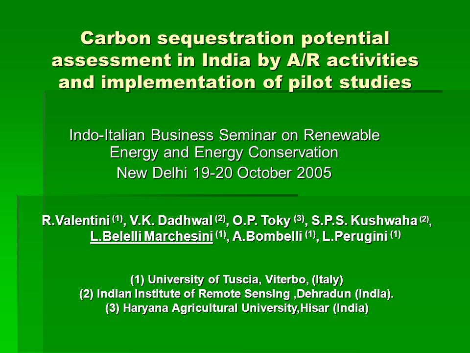 Carbon sequestration potential assessment in India by A/R activities and implementation of pilot studies Indo-Italian Business Seminar on Renewable Energy and Energy Conservation New Delhi October 2005 R.Valentini (1), V.K.