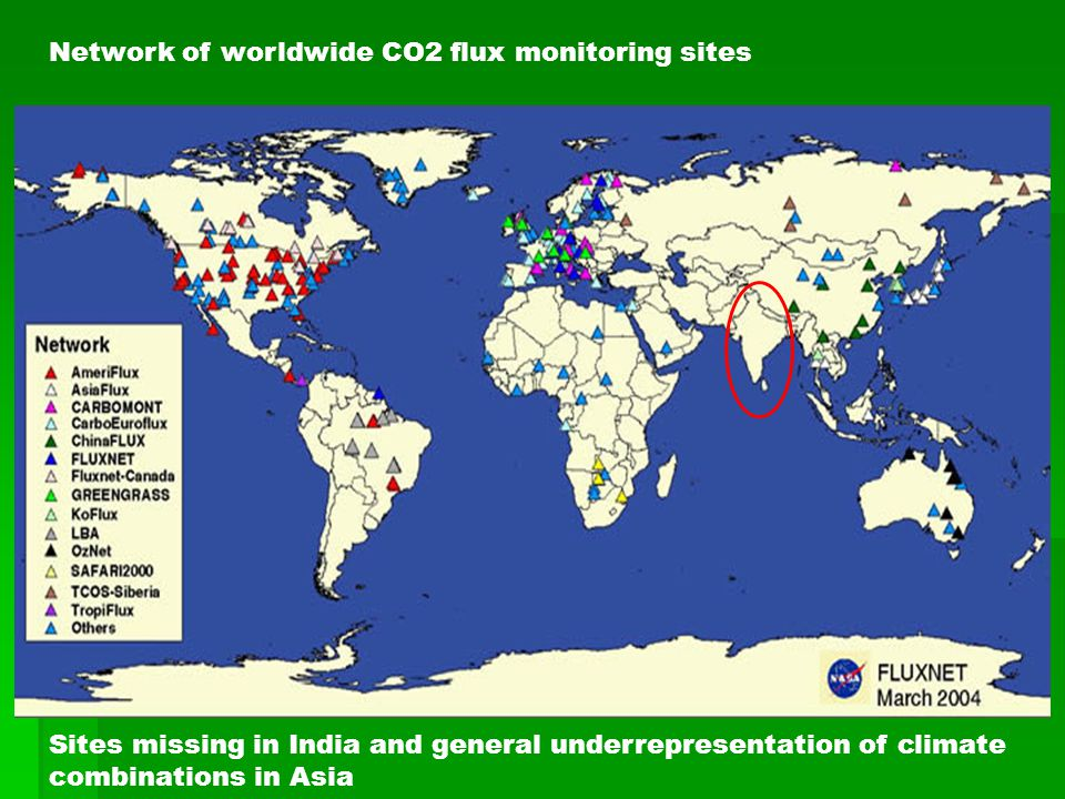 Network of worldwide CO2 flux monitoring sites Sites missing in India and general underrepresentation of climate combinations in Asia