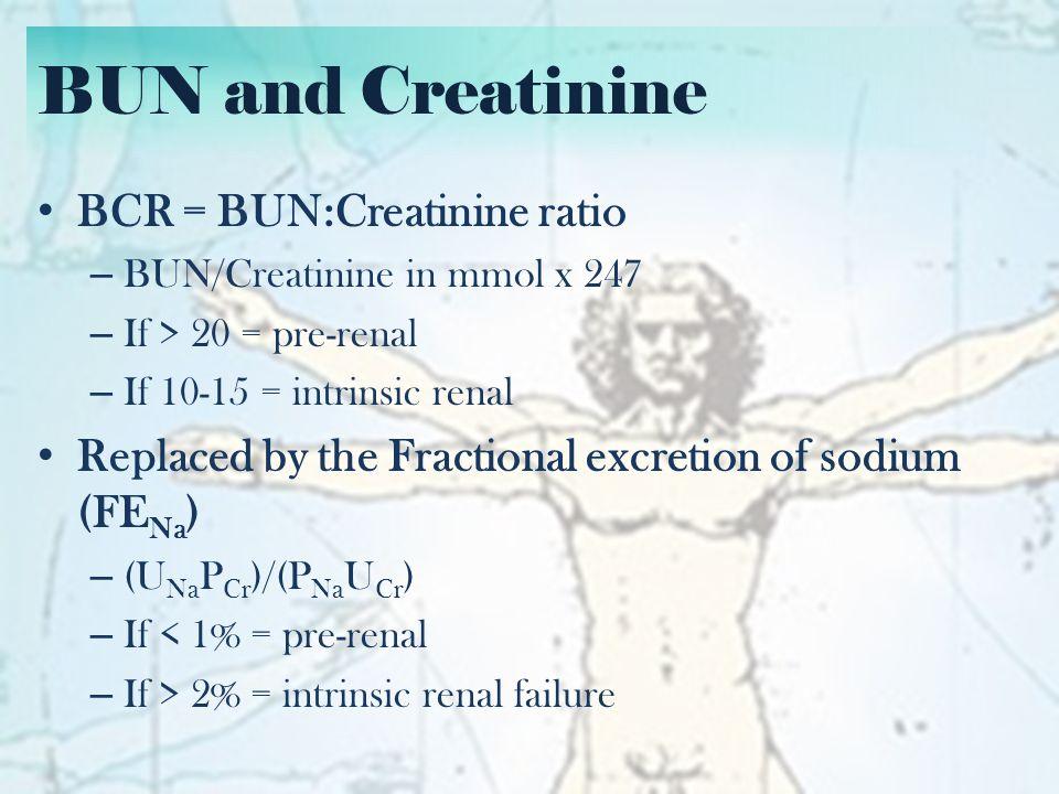 BUN and Creatinine Creatinine Clearance = GFR – (140-age) x weight x 88.4 (x 0.85 if female) 72 x Plasma creatinine – Estimates amount of creatinine filtered