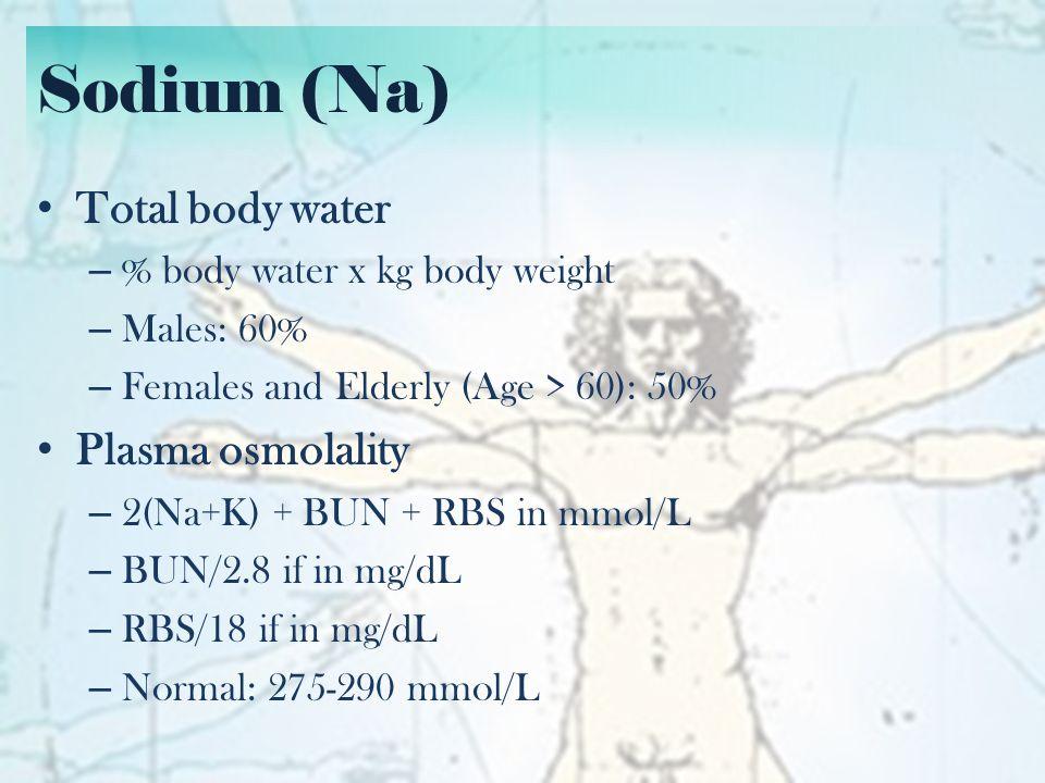 Sodium (Na) Total body water – 50 kg male.– 70 kg female.