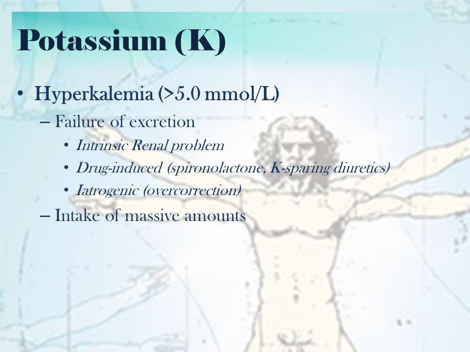 Potassium (K): Correction Hyperkalemia Correction – Calcium gluconate (10% solution) over 2-3 minutes – NaHCO3 push – Glucose (G-I) solution = 10 u regular insulin + 1 vial D50-50 – Beta-agonists (salbutamol) – Diuretics (Furosemide) – Dialysis