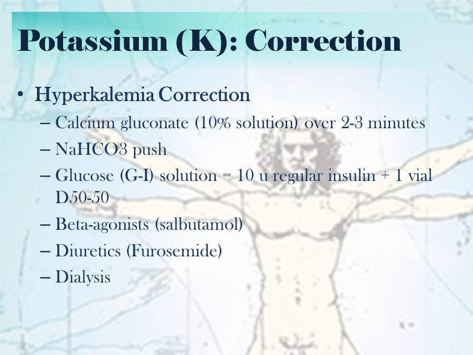 Calcium (Ca) and Albumin Corrected Calcium – (40-actual albumin) x 0.02 + Actual calcium – Do for both increased and decreased calcium
