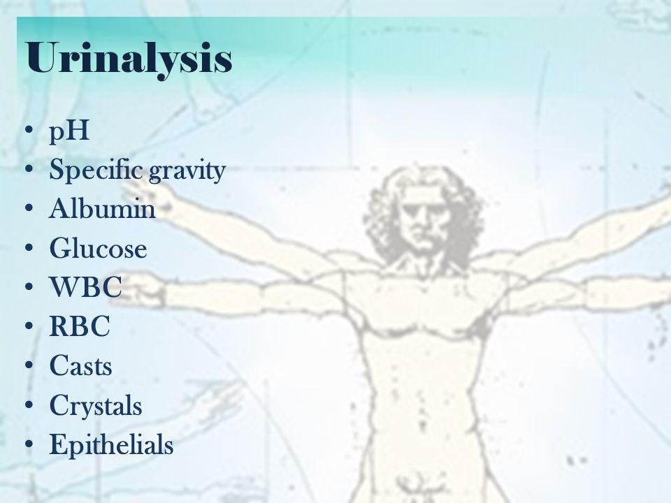 Urinalysis pH – Important in drug excretion – E.g.