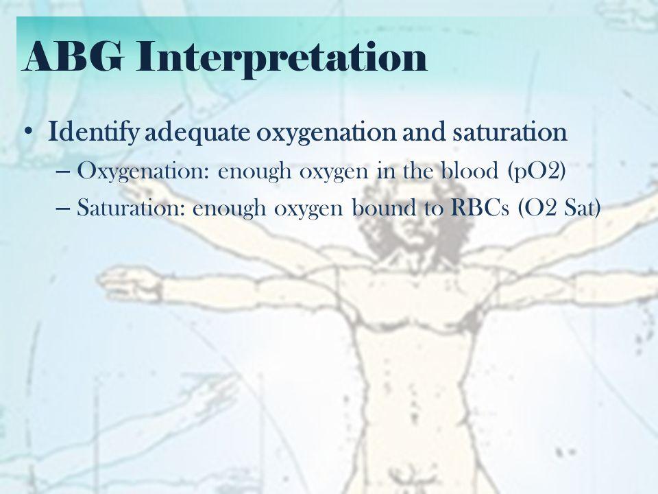ABG Interpretation Identify Acid-Base problem: – Acidosis or Alkalosis.