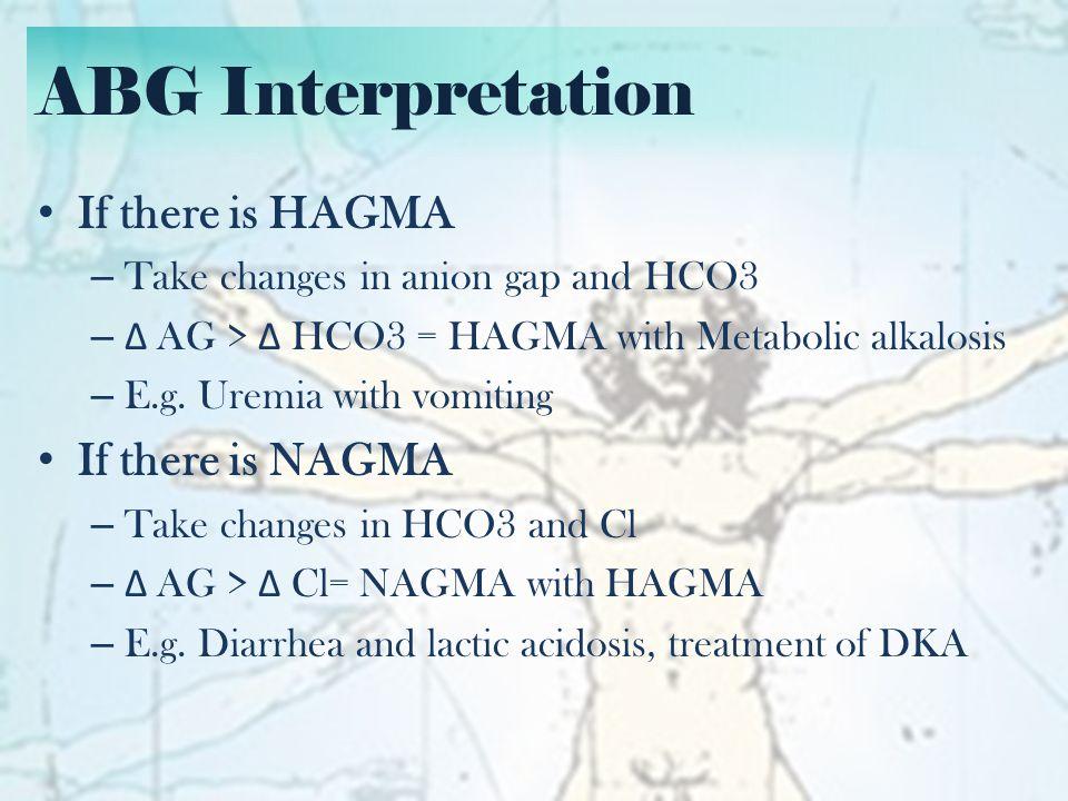 ABG Interpretation 40 239 30 L 750 mEqs 360 mEqs Plain LR 1L x 115 cc/hr 50 kg 40 year-old male diabetic with decreased sensorium – BP 140/80, HR 90, RR 28, afebrile – BUN 8, Crea 150, Na 115, K 3.5, Cl 90 Creatinine Clearance Plasma Osmolality Total Body Water H20/Na Deficit Daily Na correction Plain LR is available