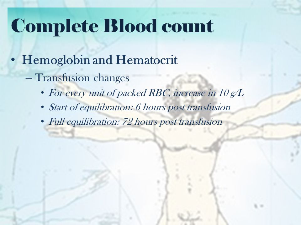 Complete Blood count WBC – Neutrophils and stabs Elevated: Bacterial or early viral Infection, Stress, Inflammation Low: Neutropenia Absolute neutrophil count (ANC) = WBC x (Neutrophils in %) x 1000 – Lymphocytes Elevated: viral/fungal/mycobacterial infection Low: Lymphopenia Absolute lymphocyte count (ALC) = same as ANC