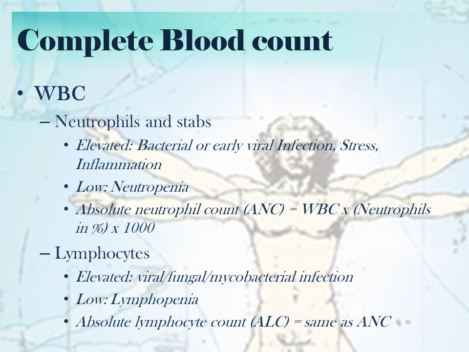 Complete Blood count Platelets – Very evanescent – Low platelets: Consumption, Viral infection – Hard to predict platelet count after transfusion – Adults: never transfuse less than 4 units Coats the tubing A Repeat platelet count should be taken immediately up to 2 hours post transfusion