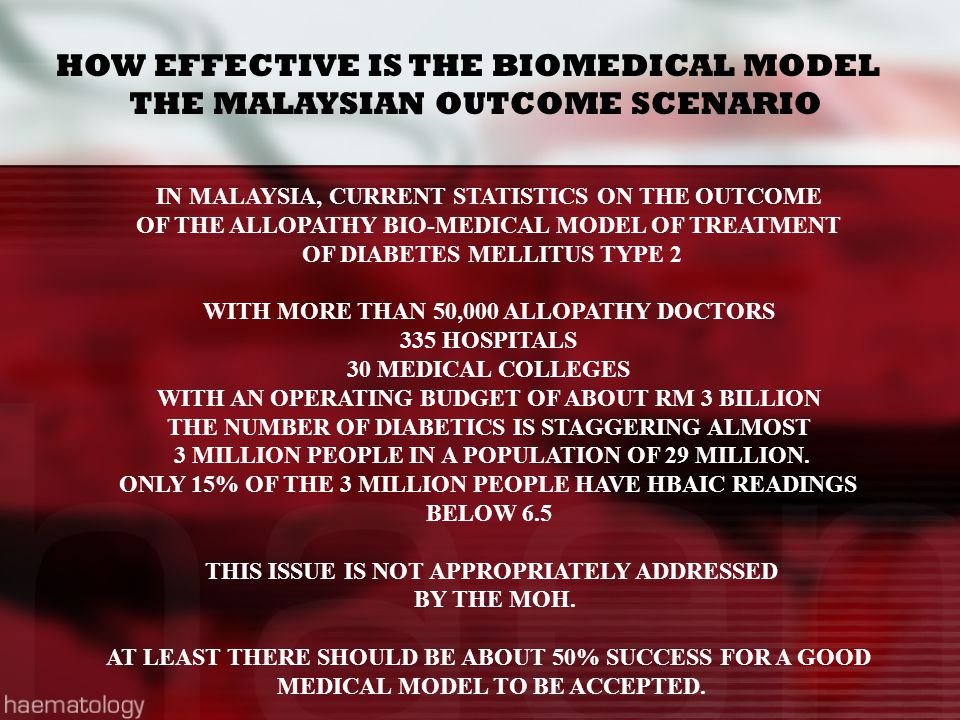 HOW EFFECTIVE IS THE BIOMEDICAL MODEL THE MALAYSIAN OUTCOME SCENARIO IN MALAYSIA, CURRENT STATISTICS ON THE OUTCOME OF THE ALLOPATHY BIO-MEDICAL MODEL