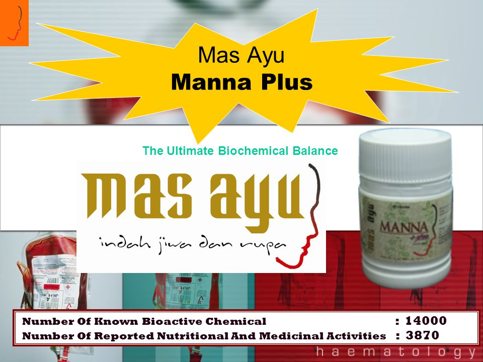 Mas Ayu Manna Plus Number Of Known Bioactive Chemical : 14000 Number Of Reported Nutritional And Medicinal Activities : 3870 The Ultimate Biochemical