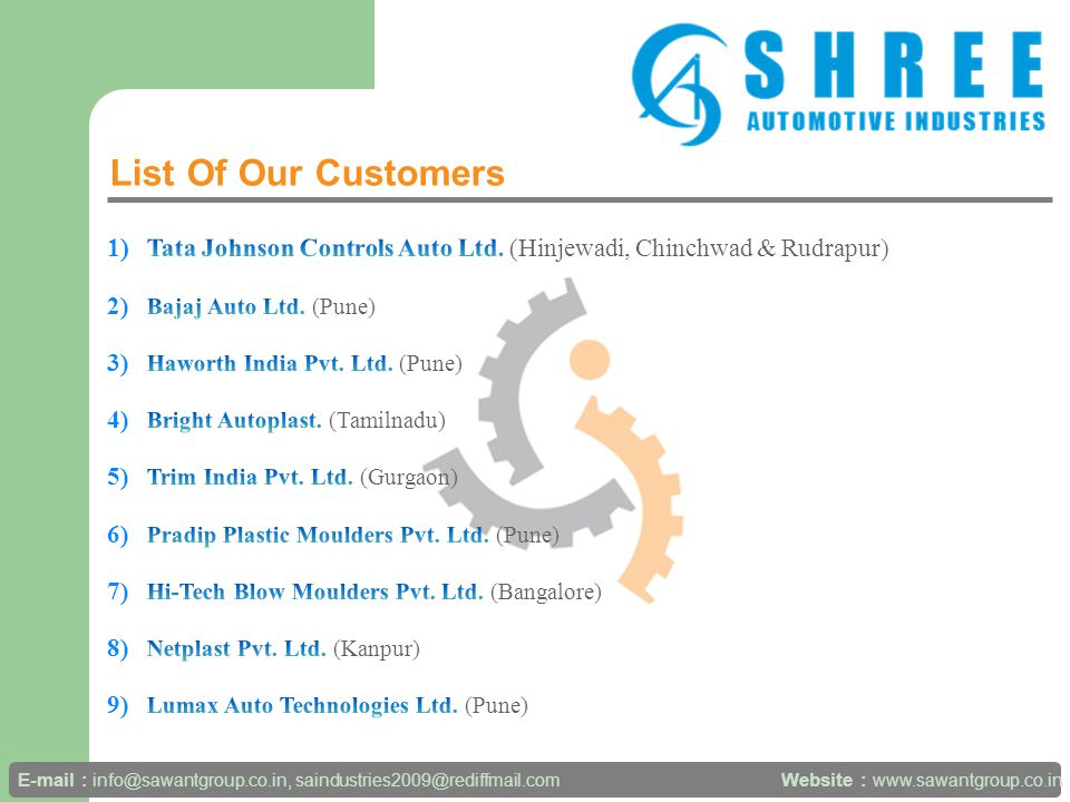 List Of Our Customers Website : www.sawantgroup.co.in E-mail : info@sawantgroup.co.in, saindustries2009@rediffmail.com