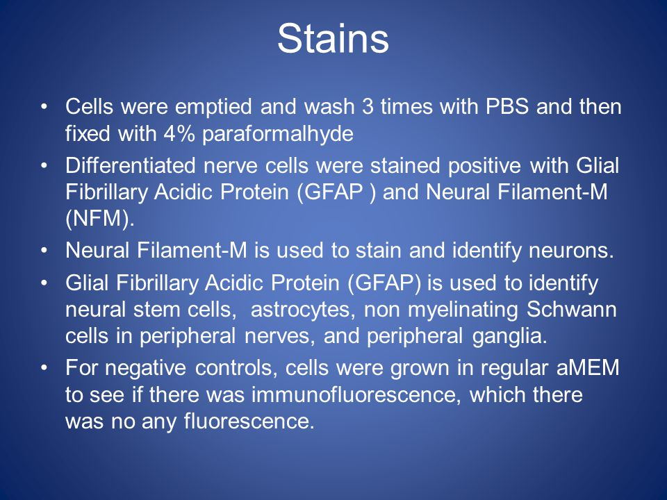 Stains Cells were emptied and wash 3 times with PBS and then fixed with 4% paraformalhyde Differentiated nerve cells were stained positive with Glial